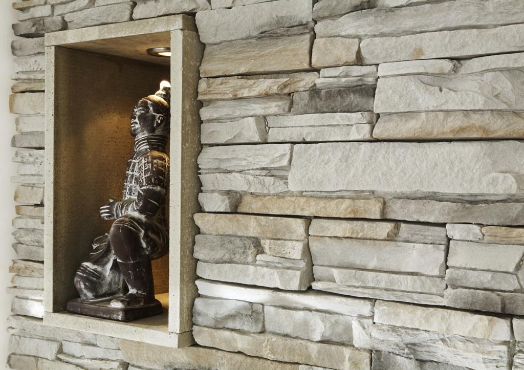 wohnzimmer wand steine:Kunststeine im Heim selbst einbauen mit GEwenastone steinen die